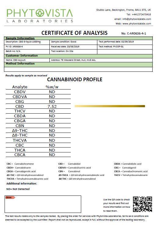 JWNAK0172X0049 37 - CBD Asylum 1000mg CBD Sub Ohm E-liquid 25ml Shortfill (70VG/30PG)