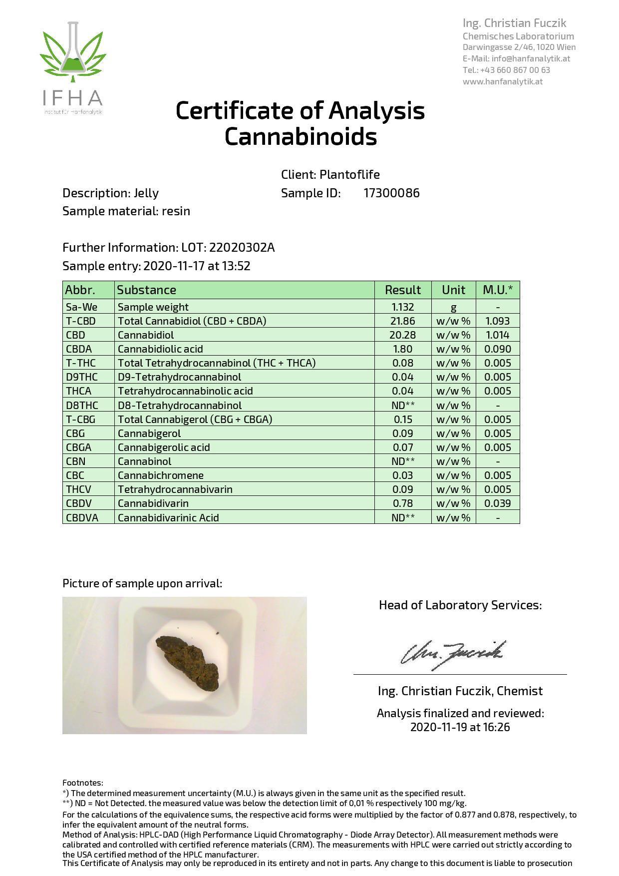 JWNBR0061X0213 1 1 525x743 - Plant Of Life Strains Jelly 22% CBD 1g - Blue Cheese